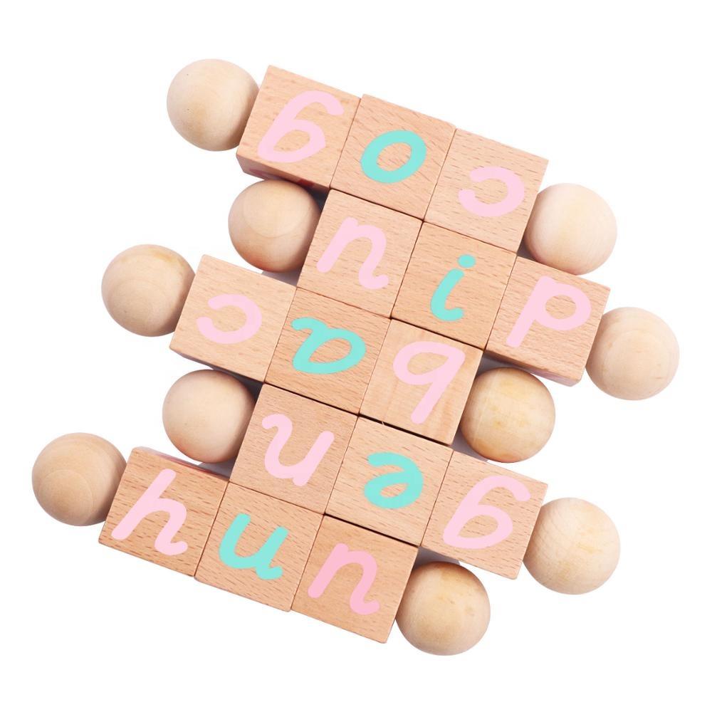 Montessori Wooden Blocks Toy Phonetic Early Childhood kids Learning Reading Alphabet blocks classroom safe nontoxic baby toys