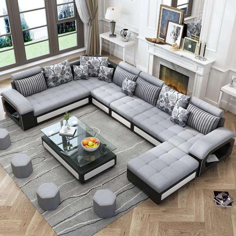 7 सीटों वाले यू के आकार का reclinable लाउंज कपड़े लक्जरी आधुनिक सोफे घर डिजाइन फर्नीचर कमरे में रहने वाले सोफे सेट