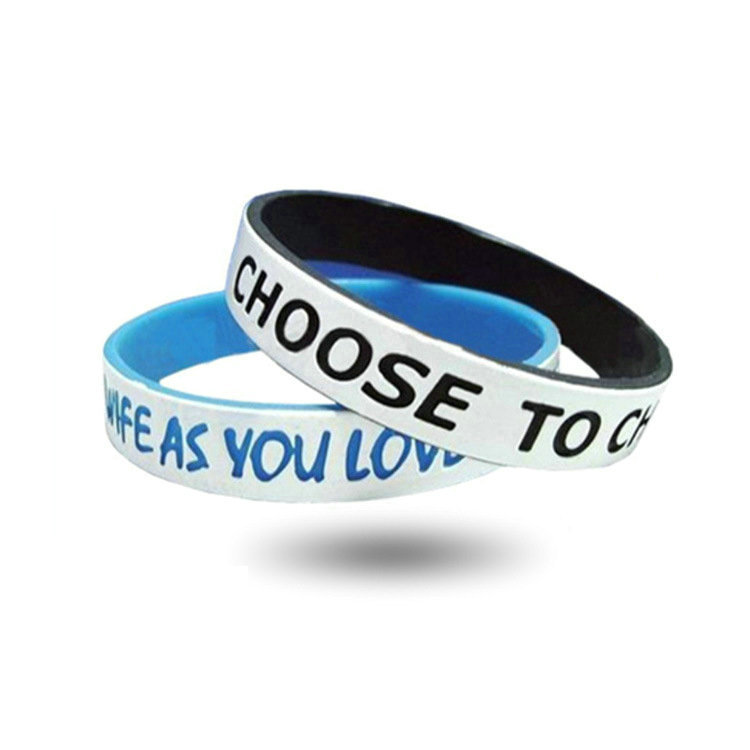 Custom design Dual Layer Silicone Wristband For Promotional Gift 2 Sides Silicone Wristband