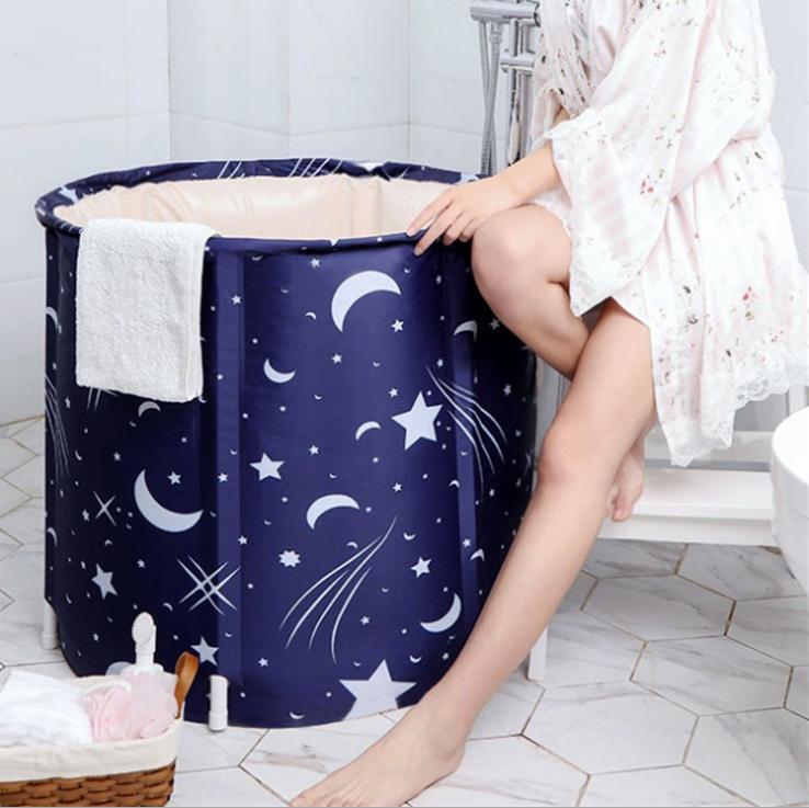 New hot Adult bath bucket large size folding bathtub family thickened folding clip cotton portable adult bathtub
