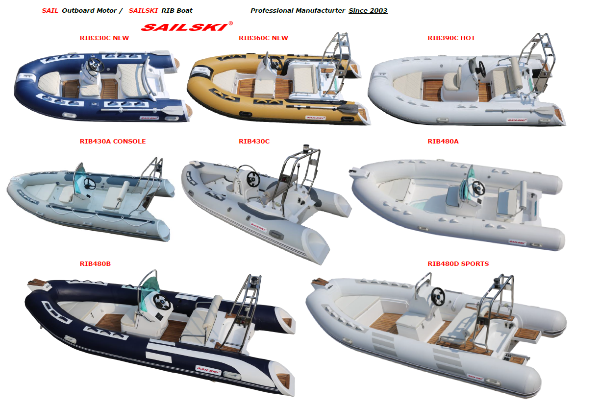 SAILSKI fiberglass hull inflatable boat 2.3m to 7.6m