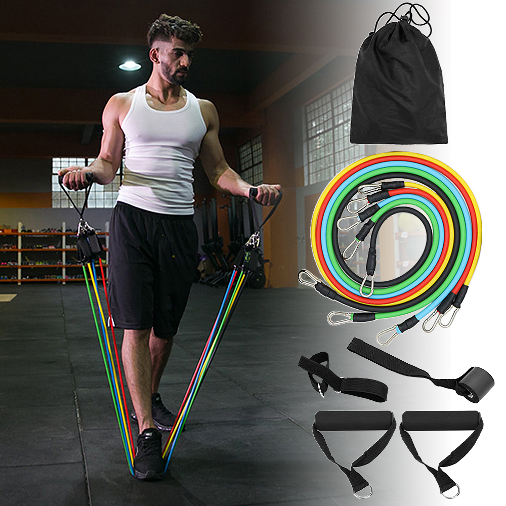 Gym Equipment fitness long 11 pcs set resistance loop bands