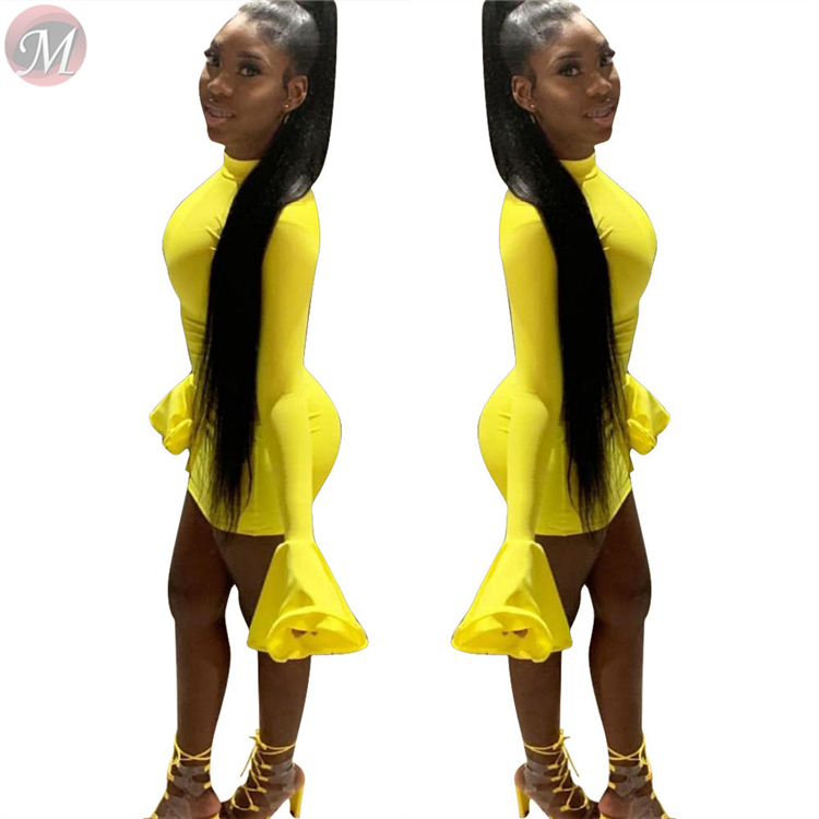9092008 hot onsale full flared sleeve solid color club sexy women fashion bodycon mini dress