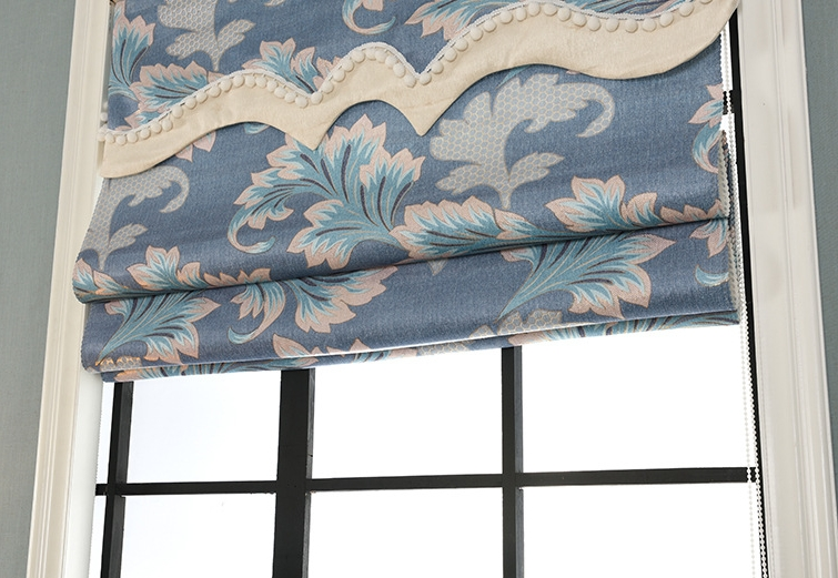 Floral design manual roman blind curtain chain control blind shade