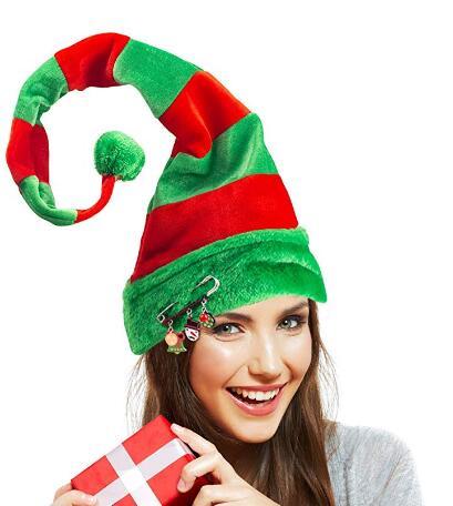 Rosso Verde Elf Hat Con Campane Novità Natale Costume Accessorio