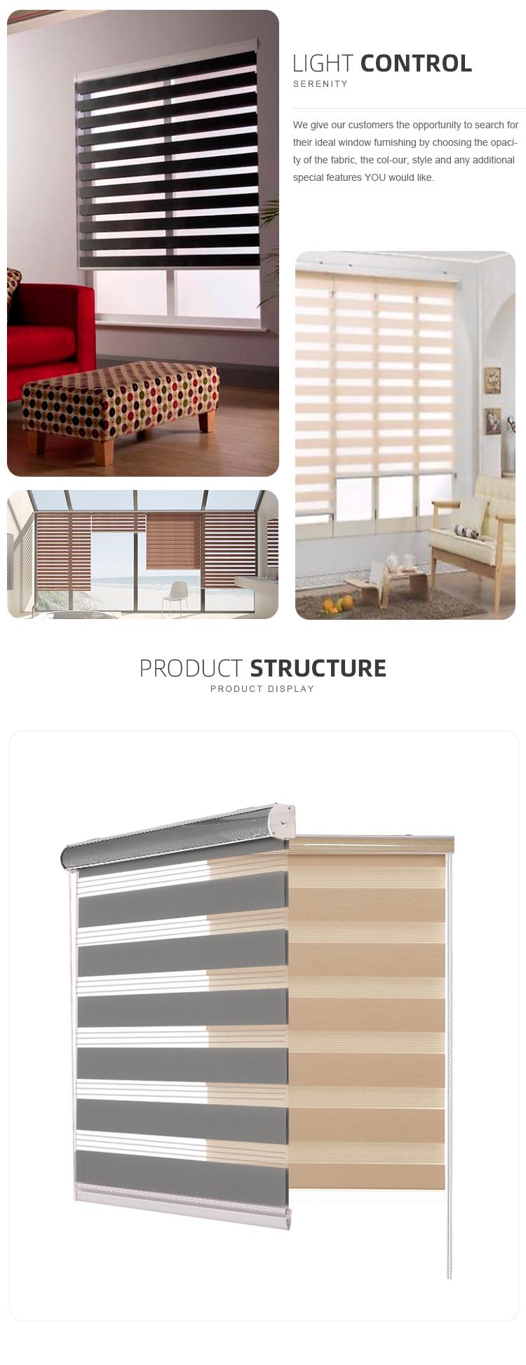 การกรองแสงม่านหน้าต่าง Shade คู่มือ Double Layer Roller