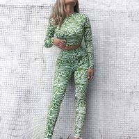 Toplook 2019 Sports Fitness Suit Female Long Sleeve Yoga Set Camouflage Tracksuit Workout Clothes S423
