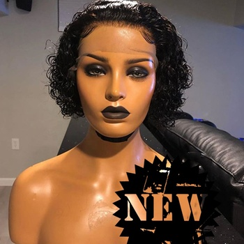 Cheap hot sale human hair wigs for black women natural black color deep curly short wigs full lace brazilian lace frontal wig