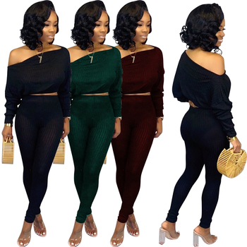 Plus size Women sexy off the shoulder pants lady two pieces set clothing