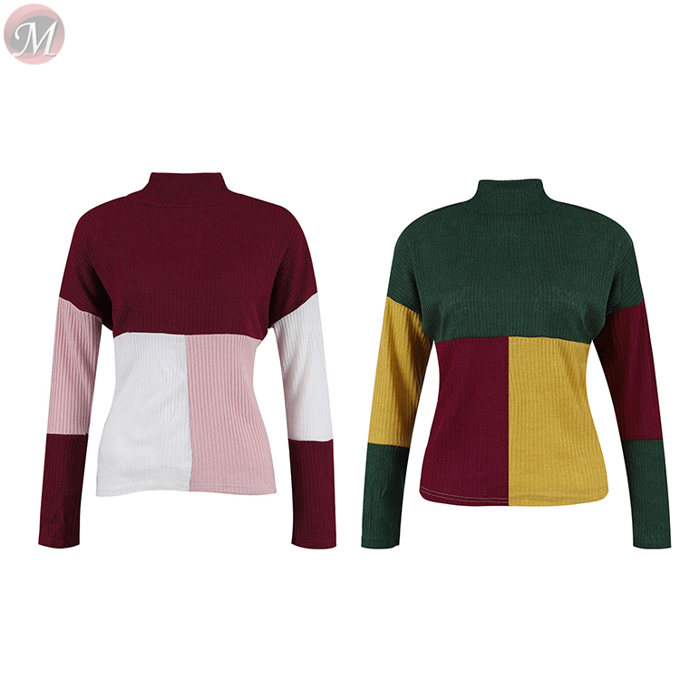 0010915 fashion casual loose long sleeve round neck Pullovers Multicolor splicing women fashion sweater jumper
