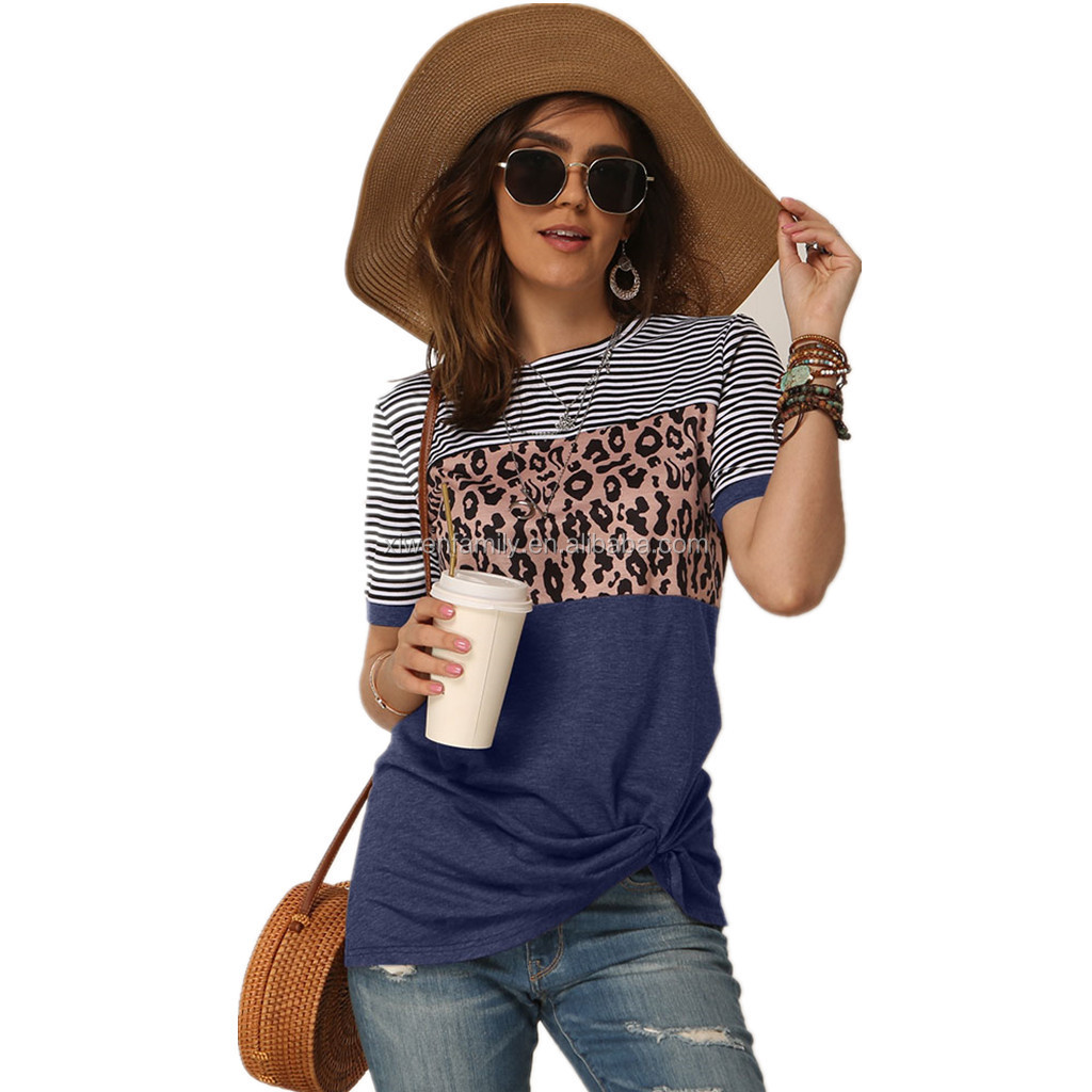 Summer  Leopard Splice Printed cotton T-shirt Tops Women O Neck Short Sleeve Tee Shirt  Ladies Letter Print T shirt Tops