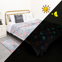 Glow in dark flannel fleece super Soft for kids children weighted blanket rug no harm non-slip Blankets and Bath mat set