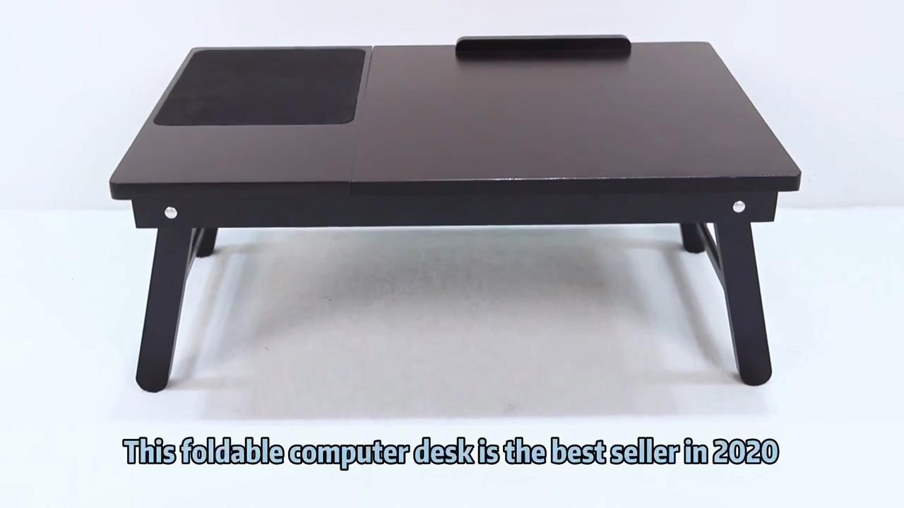 נייד מתקפל במבוק מתכוונן מחשב נייד שולחן מיטת מחקר עם הטיה למעלה ומגירה