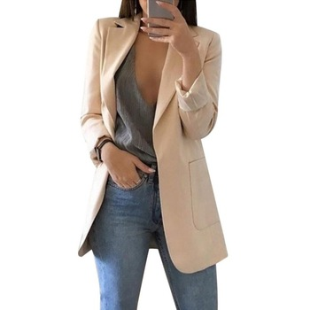 Fashion Slim Blazer Jacket Female Solid OL Long Sleeve Suit Coat