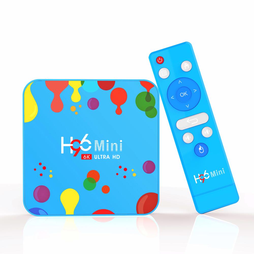 أحدث SOYEER صندوق تلفاز 4G 32G 128G H96 MINI H6 يعمل بنظام الأندرويد 9.0 4K 1080P 5.0G WIFI BT 4.1 جهاز استقبال بالبلوتوث لون أزرق