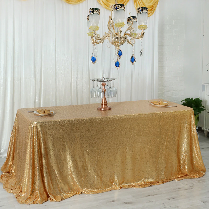 2020 New Design Fancy Embroidery Full Sequin Taffeta Dining Table Cloth for Wedding//