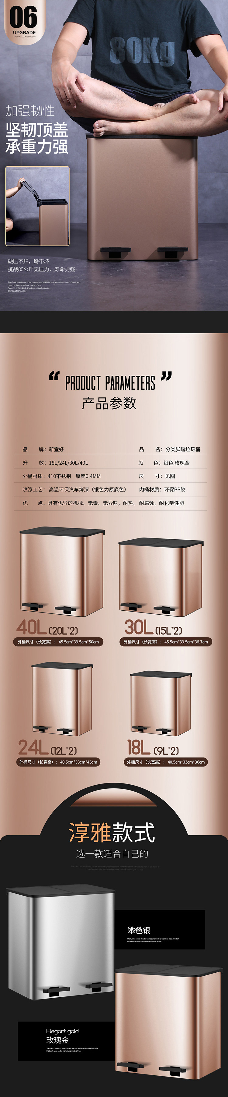 Classified Trash Can Wastebasket,Garbage Container Bin for Bathrooms, Powder Rooms, Kitchens, Home Offices