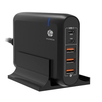 HUNDA Hot Selling 110W Multiports 5 Port USB Type C Charger Universal Desktop Multiple USB Charging Station PD c Port Charger