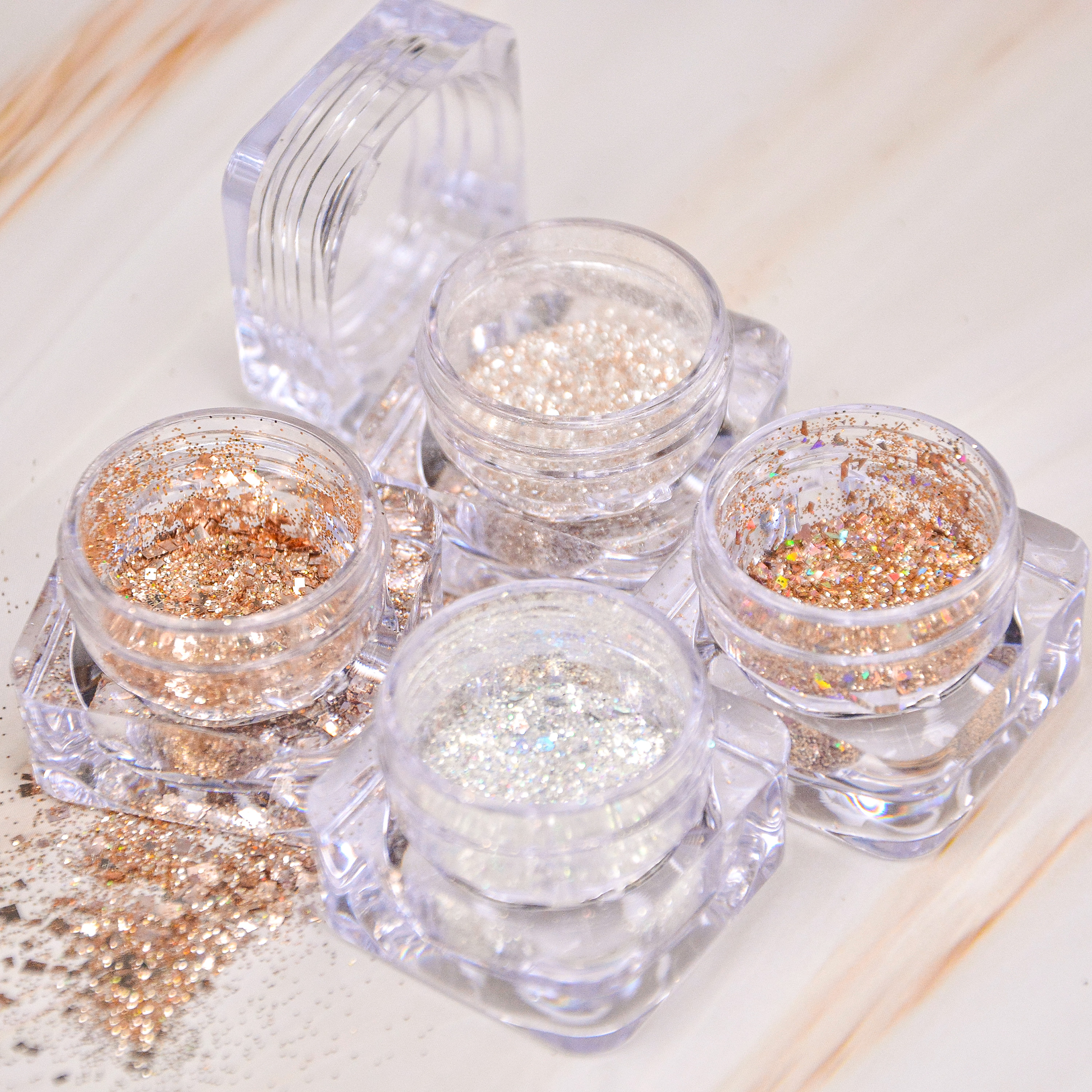 1oz acrylic powder jar holographic chunky glitter for nail art decoration