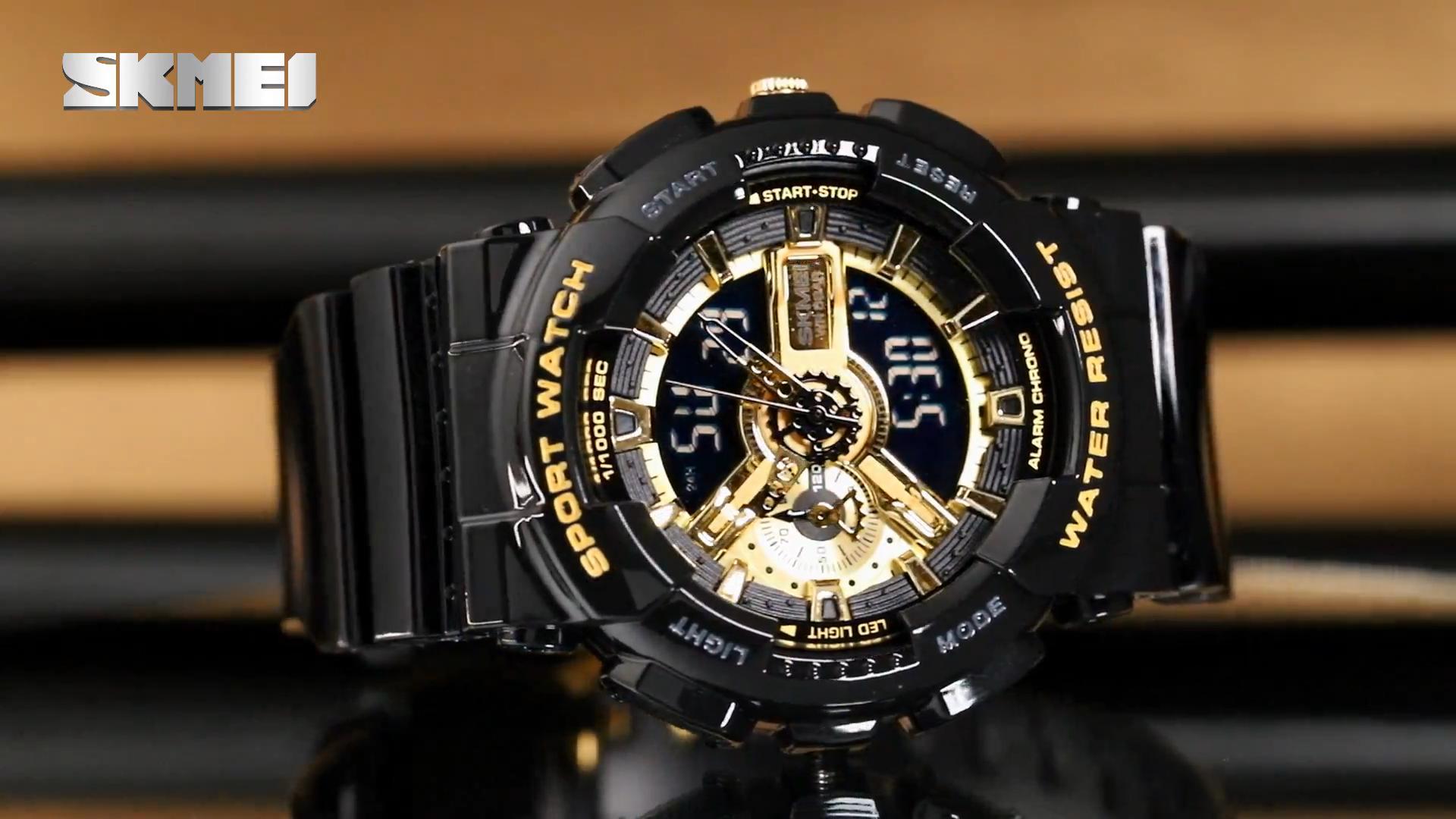 Venta caliente azul del reloj SKMEI los hombres más nuevos relojes de mujer modelo 1688 de doble reloj de lujo de oem