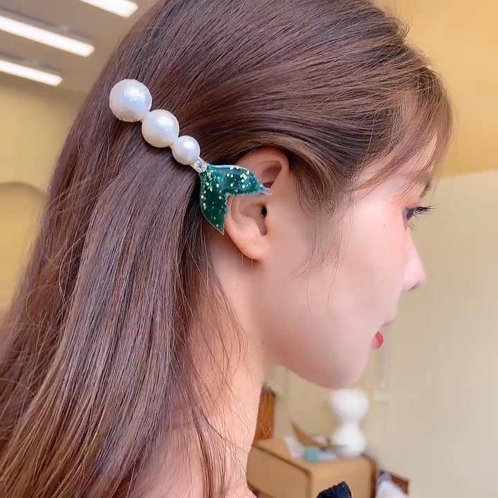 Mengkilap dan Mermaid Tail Fin Berlian Imitasi Bangs Klip Mutiara Jepit Rambut Sisi Klip Rambut Aksesori