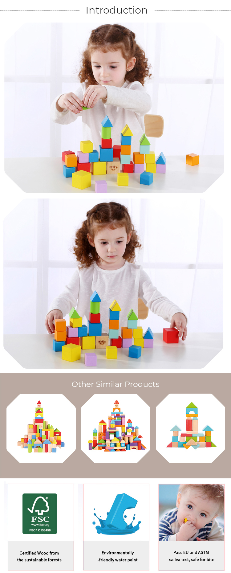 Wooden toy Educational 39pcs Block
