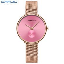 Модные женские часы, Роскошные, CRRJU, повседневные, простые, для девушек, на каждый день, сетчатые, наручные часы, минималистичные, водонепрони...(Китай)
