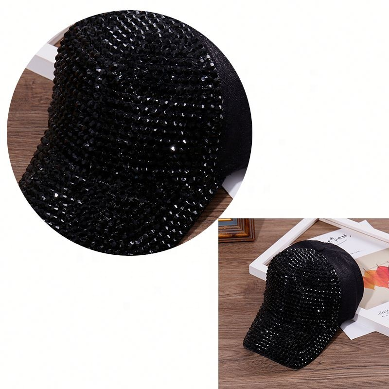 Fashion Winter Raccoon Fur Ball Hat Lady Warm Big Rhinestone
