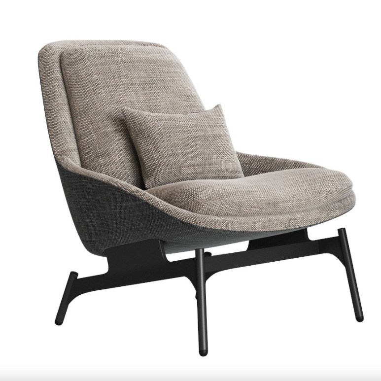Metal Frame Upholstered Fabric Living Room Italian Designer furniture modern design grey Field Lounge Chair