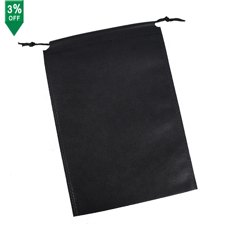Double strings eco-friendly grocery bag nonwoven drawstring bag black