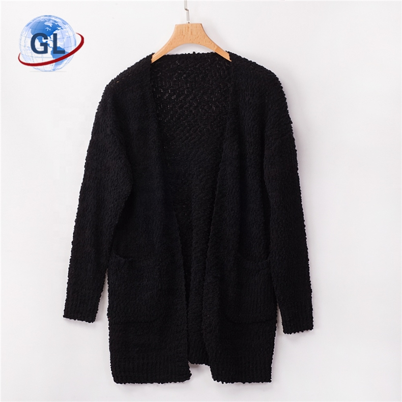 Winter Fashion Casual Warm Girls Plain Knitted Sweaterwith Pockets <strong>Long</strong> <strong>Black</strong> <strong>Cardigan</strong>