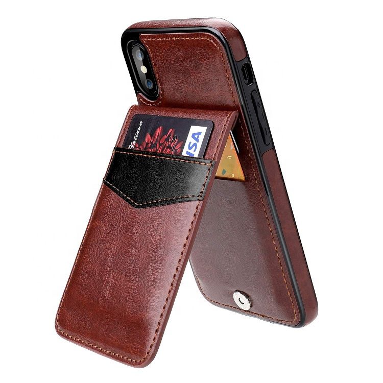 Premium PU Leather Magnetic Clasp Kickstand Wallet with Card Holder Back Phone <strong>Case</strong> for iPhone X Xs