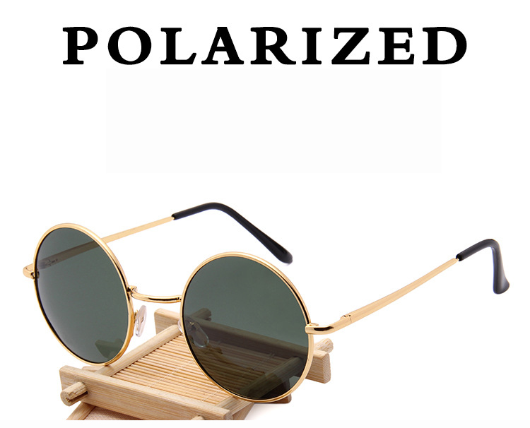 Trendy 2019 Hip-Hop Polar One Glasses Round Metal Men Women Polarized Sunglasses