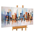 Large Framed 3D knife landscape abstract art oil painting paris London building Scenery canvas work wall picture for restaurant