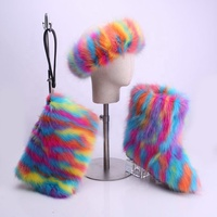 WInter hot selling Fake Fox Fur Rainbow Bags With Colorful fur headbands And Multicolor Fur boots Sets