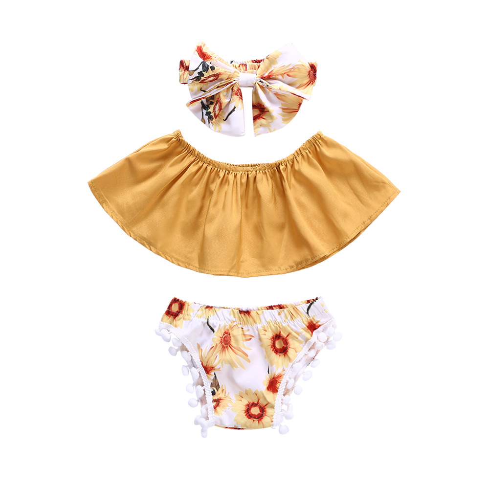 2020 Nieuwe Mode Zonnebloem Baby Kleding Set Ruche Mooie Pluche Bal Baby Kleding Set