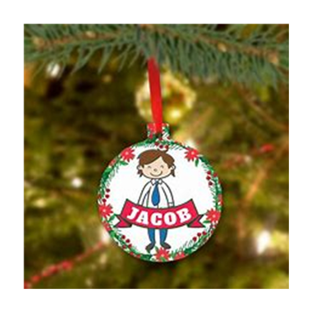 Handysub Hot Sale Metal Round Decorative Custom Christmas Ornament/Sublimation Dye <strong>ALUMINUM</strong>