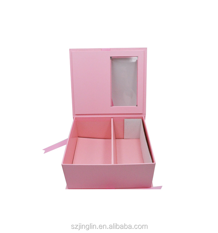 Pink Gold Hot Stamping Logo Rigid Paper Box with Clear PVC Window Ribbon Closure for Wig Hair Extension Packing
