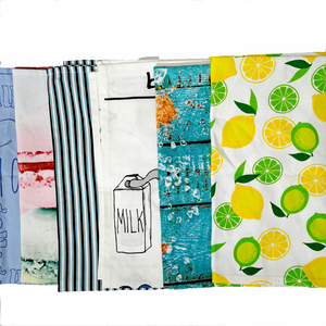 linen cotton colorful full printing hanging kitchen tea towels for dining room
