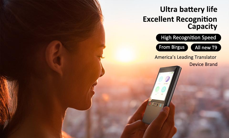 Birgus çevirmen cihazı T9 2.8 ''HD dokunmatik ekran akıllı ses tercüman çevrimdışı çoklu dil çevirmen