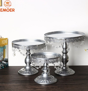 2019 new  Metal iron  Round Wedding Party Cake Stand with crystal siver color