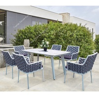 Luxury outdoor furniture rope rattan wicker garden dining table and chair outdoor furniture dining set