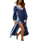 Long Sleeve Swimsuit Cover Up V Neck Swimwear Beach Robe Kaftan Dress