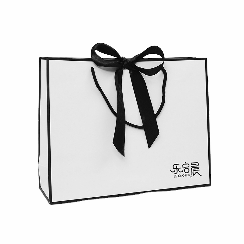 product-Dezheng-Elegant design blank black and white ribbon shopping costume paper bag with bow-img
