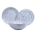 New Design Round Melamine dinnerware set Unbreakable Plastic speckled Dishes Set