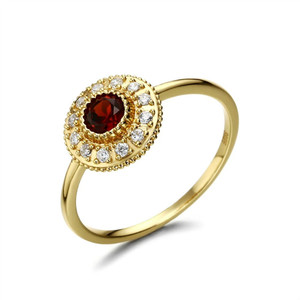 925 Gemstone Sterling Silver Ring Radiance Red Garnet Ring Natural Stone Ring