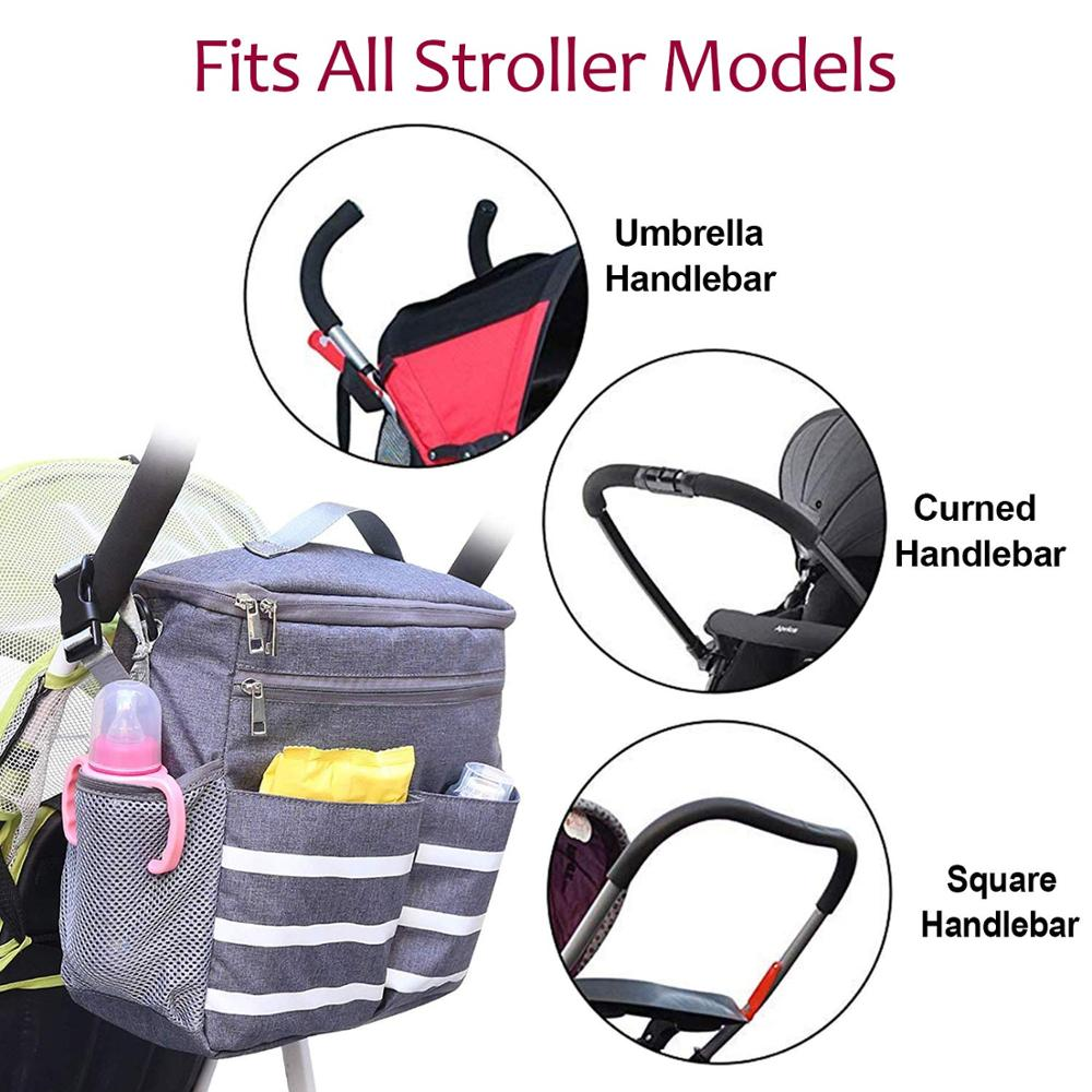 Osgoodway Custom Diaper Bag Organizer Hanging Baby Stroller Bag with Insulated Bottle Holder