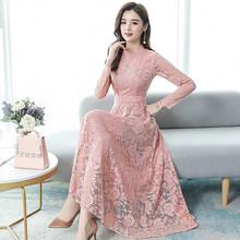 2020 винтажные розовые кружевные сексуальные макси платья осень зима 3XL размера плюс с длинным рукавом Миди платье элегантные женские облега...(Китай)