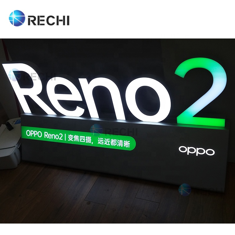 RECHI Countertop Brand Logo Advertising Light Sign For Mobile Phone Shop Tabletop Led Illuminated Light Up Sign Letters