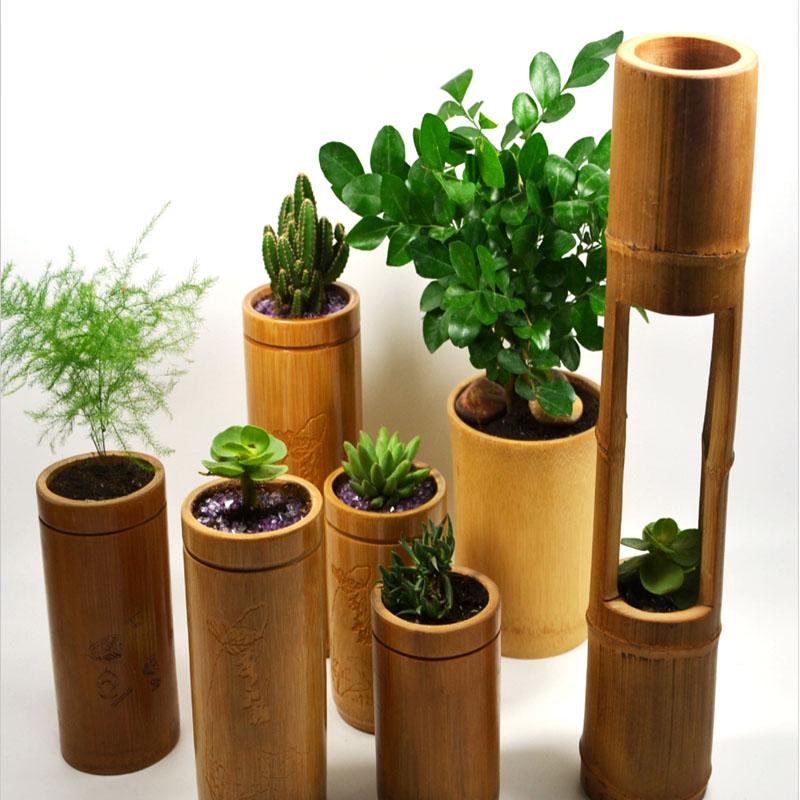 Fabrikanten Professionele Aangepaste Bamboe Groene Bamboe Bloempot Vaas Woondecoratie